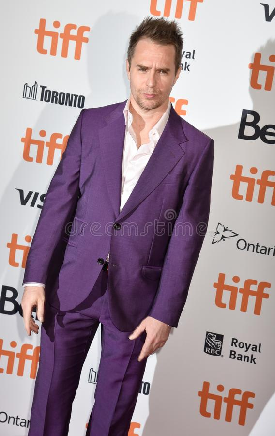 Sam Rockwell on red carpet for Jojo Rabbit movie premiere at TIFF. Actor Sam Rockwell and his wife on red carpet for Jojo Rabbit movie premiere at TIFF . movie royalty free stock photos