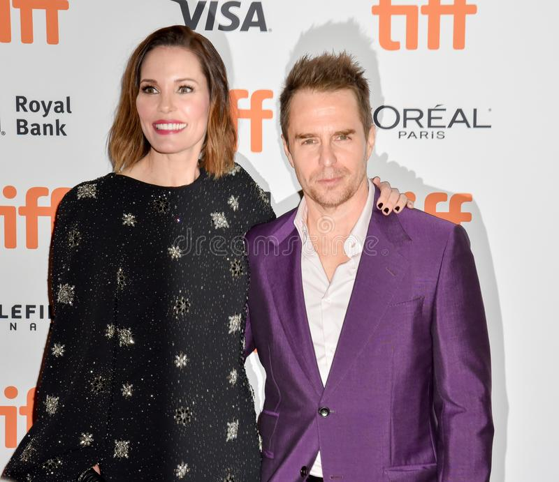 Sam Rockwell on red carpet for Jojo Rabbit movie premiere at TIFF. Actor Sam Rockwell and his wife on red carpet for Jojo Rabbit movie premiere at TIFF . movie royalty free stock images