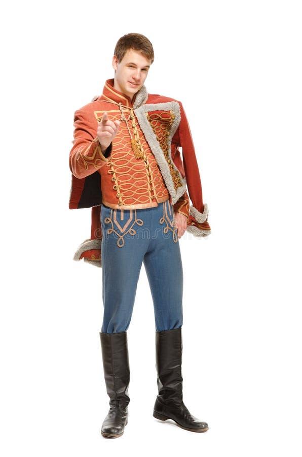 Actor vestido en un húsar del uniforme militar imagenes de archivo