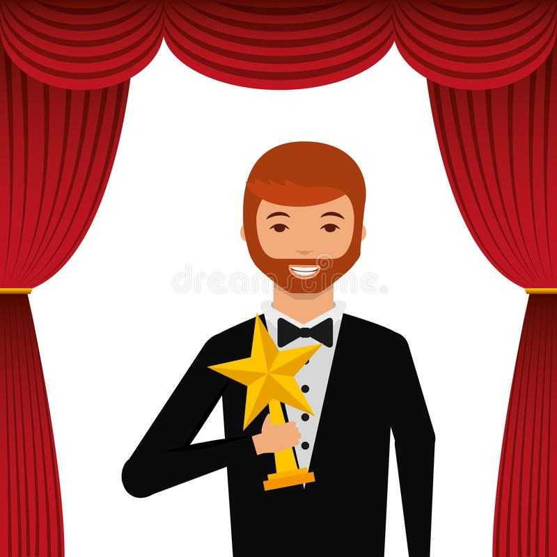 Actor wearing tuxedo holding gold star award. Vector illustration royalty free illustration