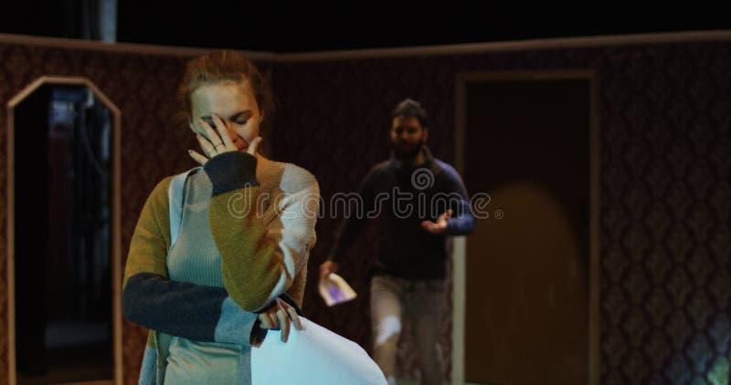 Actoren die in een theater repeteren royalty-vrije stock foto