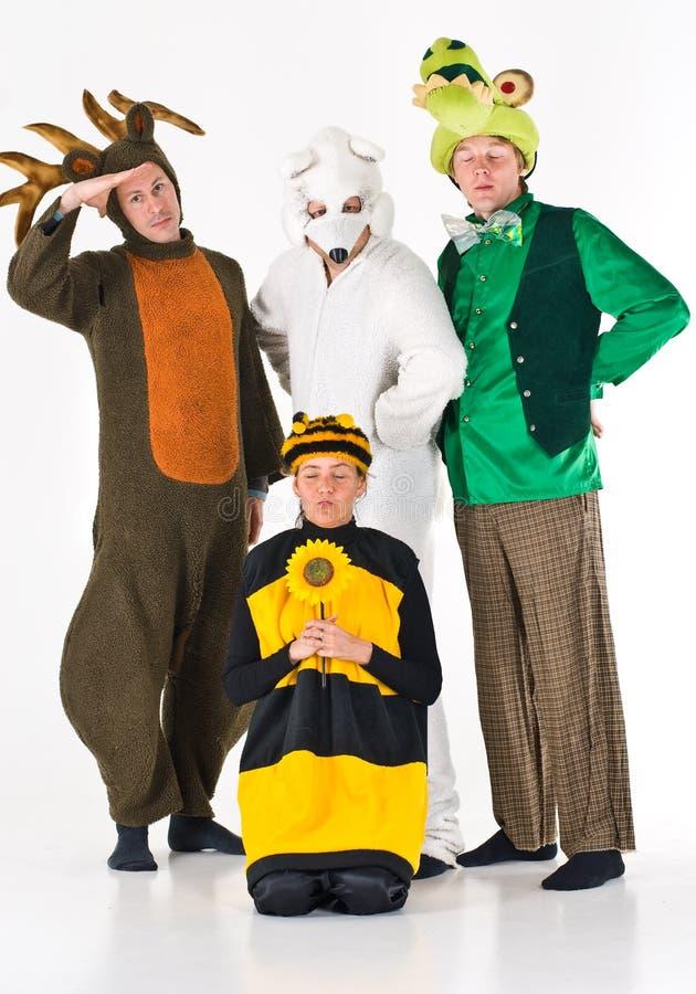 Actoren in dierlijke kostuums stock afbeelding