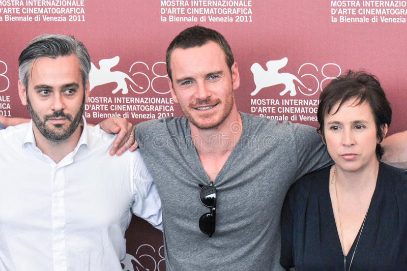 Actoren Emile Sherman, Michael Fassbender en Abi Morgan stock afbeelding