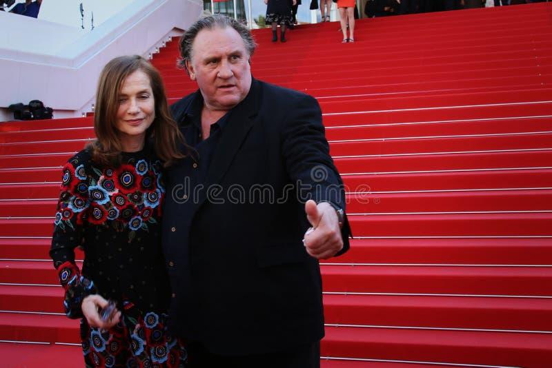 Actoren Gerard Depardieu en Isabelle Huppert stock fotografie