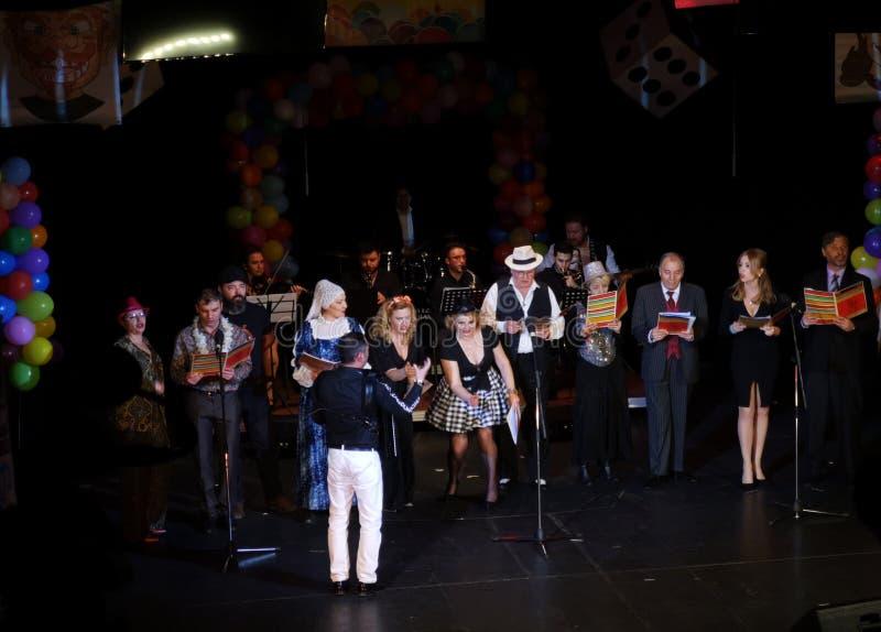 Actoren op het stadium van het Joodse Theater van de Staat royalty-vrije stock afbeelding