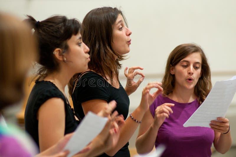 Actoren repetitie Commedia dell'arte stock afbeelding