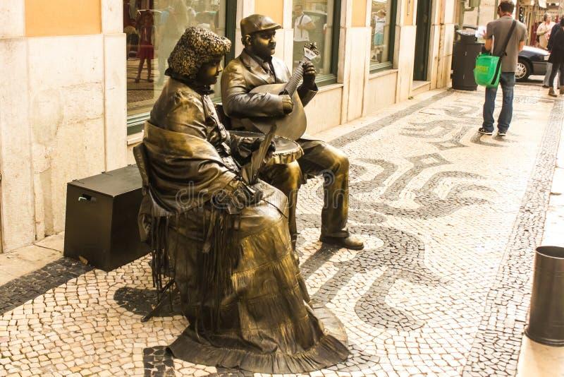 Actores de la calle en Lisboa, Portugal foto de archivo libre de regalías