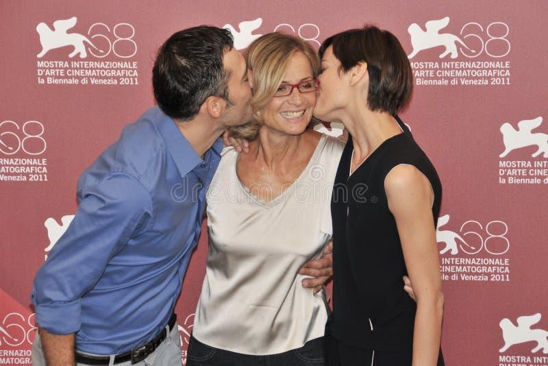 Actores Filippo Timi, Cristina Comencini y Claudia Pandolfi imagen de archivo libre de regalías