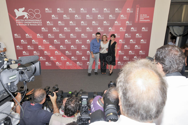 Actores Filippo Timi, Cristina Comencini y Claudia Pandolfi foto de archivo libre de regalías