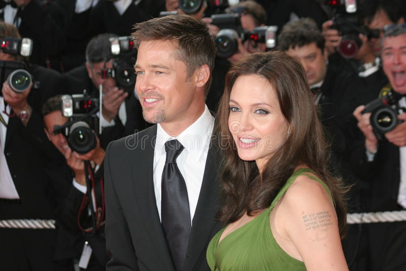Actors Angelina Jolie and Brad Pitt royalty free stock images