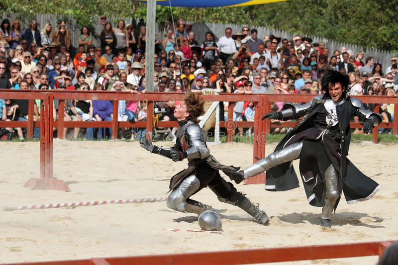 Actors as medieval knights stock photos