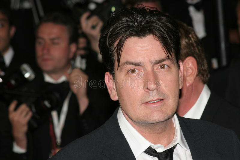 Actors Charlie Sheen. CANNES, FRANCE - MAY 21: Actors Charlie Sheen attends the 'Platoon' Screening at the Palais during the 59th International Cannes Film royalty free stock photo