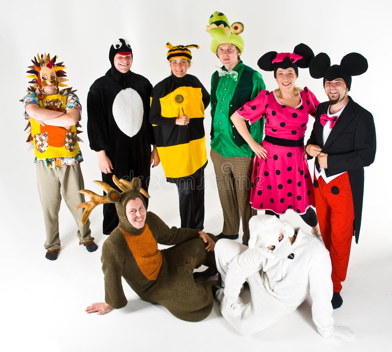 Actors in Costume. Group of actors dressed in various costumes royalty free stock images