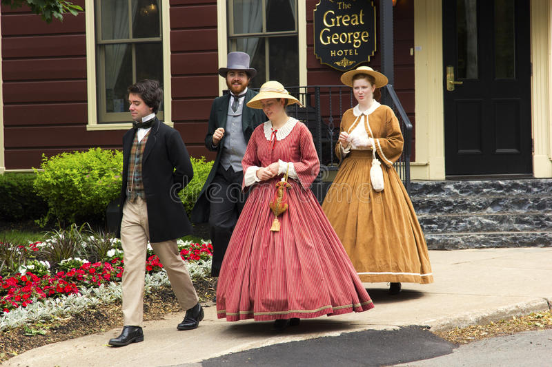 Actors dressed as Fathers and Ladies of Confederation in Charlottetown. The Confederation Players dressed as Fathers and Ladies of Confederation in Charlottetown stock photography