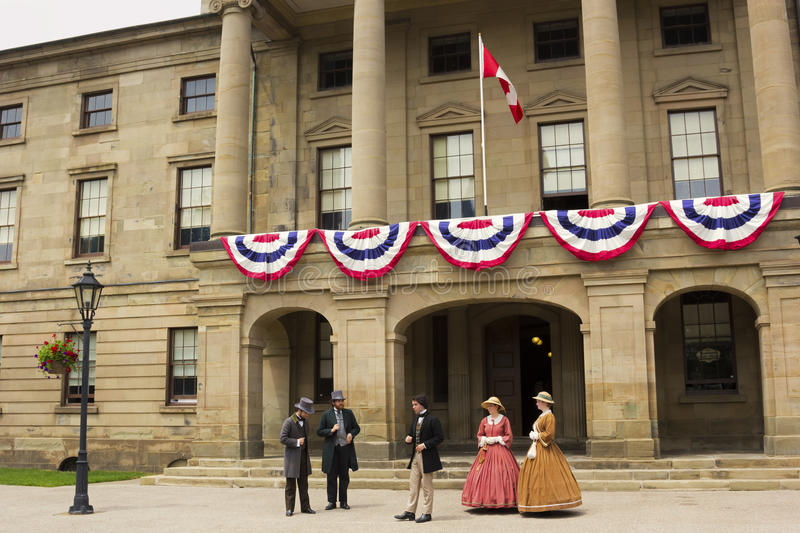 Actors dressed as Fathers and Ladies of Confederation in Charlottetown royalty free stock image