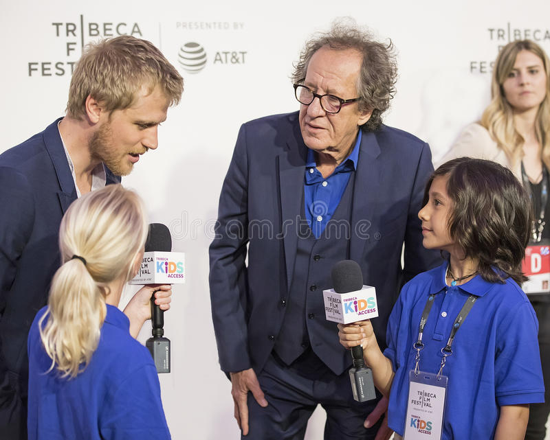 Actors Johnny Flynn and Geoffrey Rush. Oscar winner, Australian actor Geoffrey Rush arrives for the premiere of `Genius` at the 2017 Tribeca Film Festival stock photos