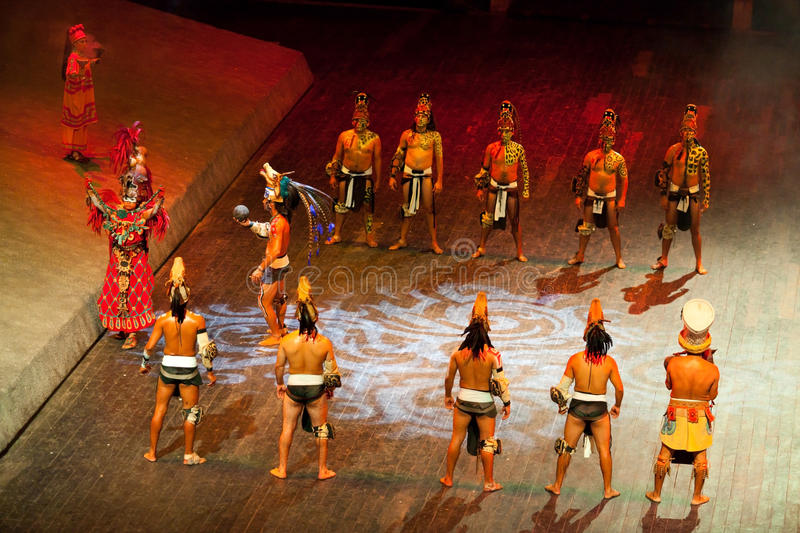 Actors perfoming the ball mayan game royalty free stock images
