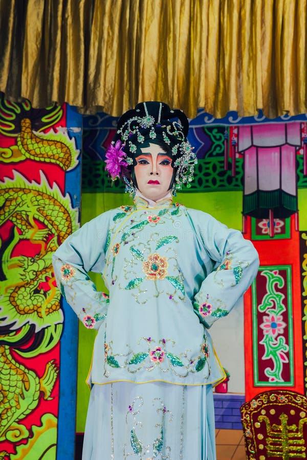 Actors playing traditional Chinese Opera, Penang, Malaysia stock photos
