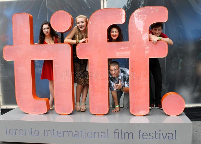 Actors at TIFF sign. Group of actor at TIFF 2014 stock image
