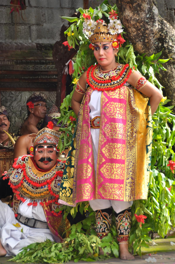 Actors in Traditional Balinese Barong Performance. stock image