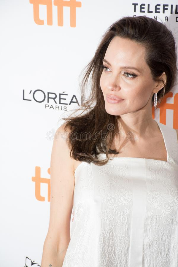 Angelina Jolie attends `The Breadwinner` Premiere at Toronto International Film Festival. Actress Angelina Jolie`attends `The Breadwinner` premiere during the stock images