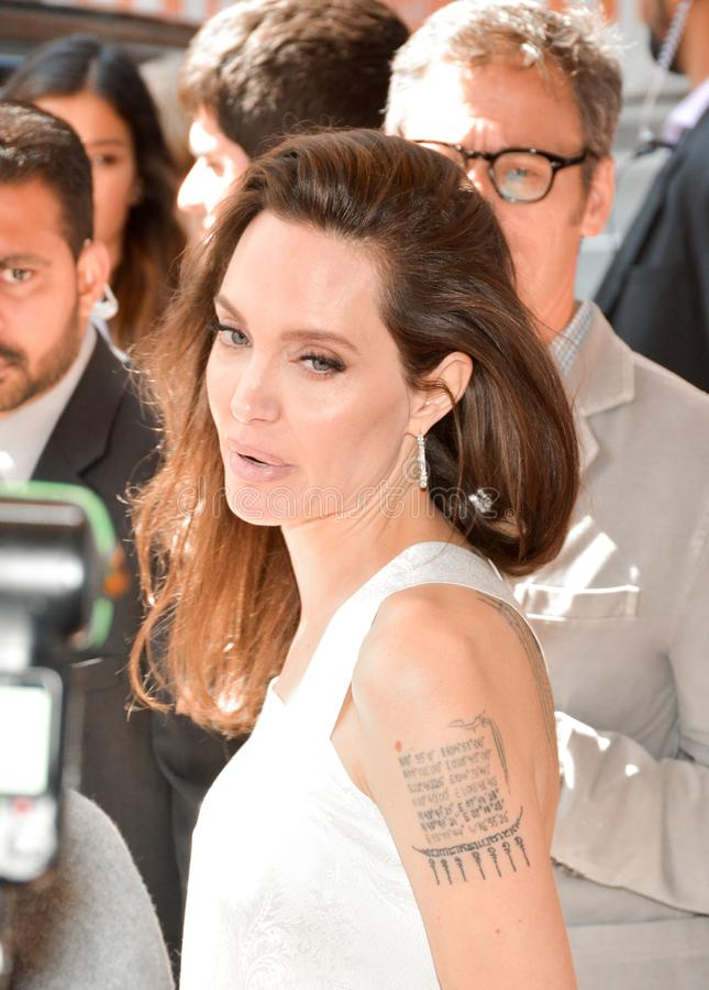 Actress Angelina Jolie at Premiere of `The Breadwinner` for TIFF17 royalty free stock photography