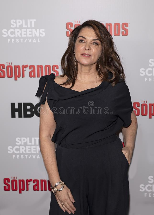 Annabella Sciorra at The Sopranos 20th Anniversary Reunion. Actress Annabella Sciorra arrives for The Sopranos  20th Anniversary Red Carpet and Panel stock photo