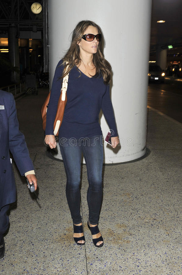 Actress Elizabeth Hurley at LAX airport stock photo