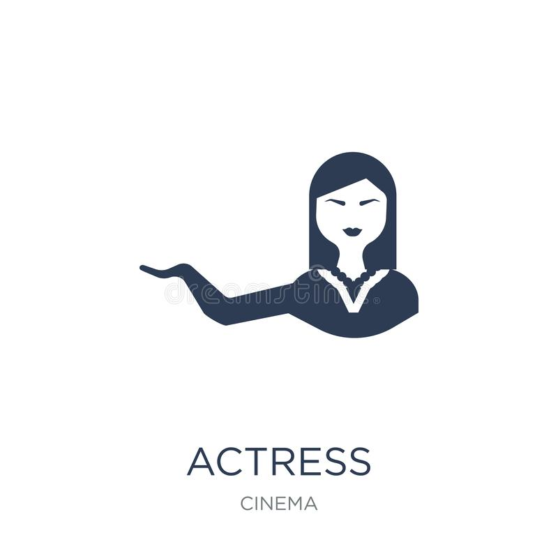 actress icon. Trendy flat vector actress icon on white background from Cinema collection stock illustration