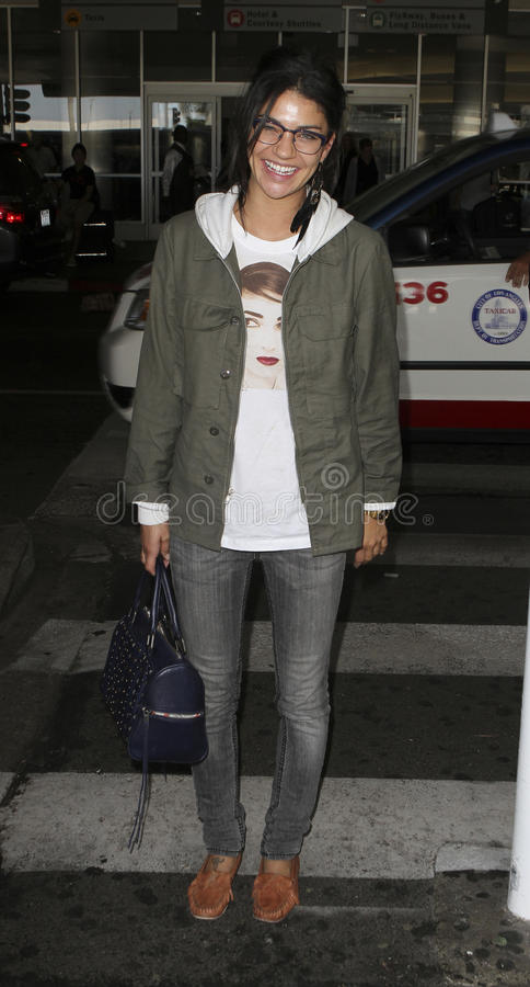 Actress Jessica Szohr is seen at LAX