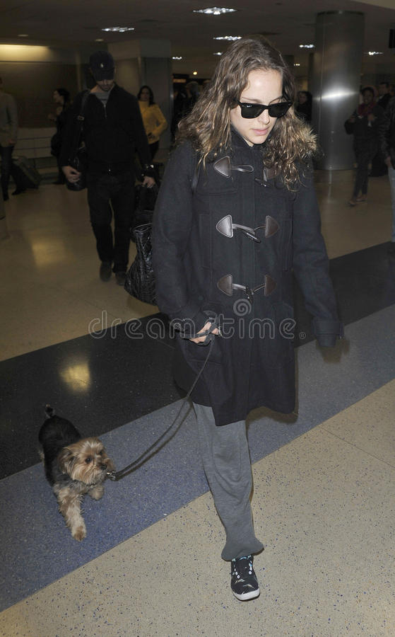 Actress Natalie Portman with dog at LAX airport stock image