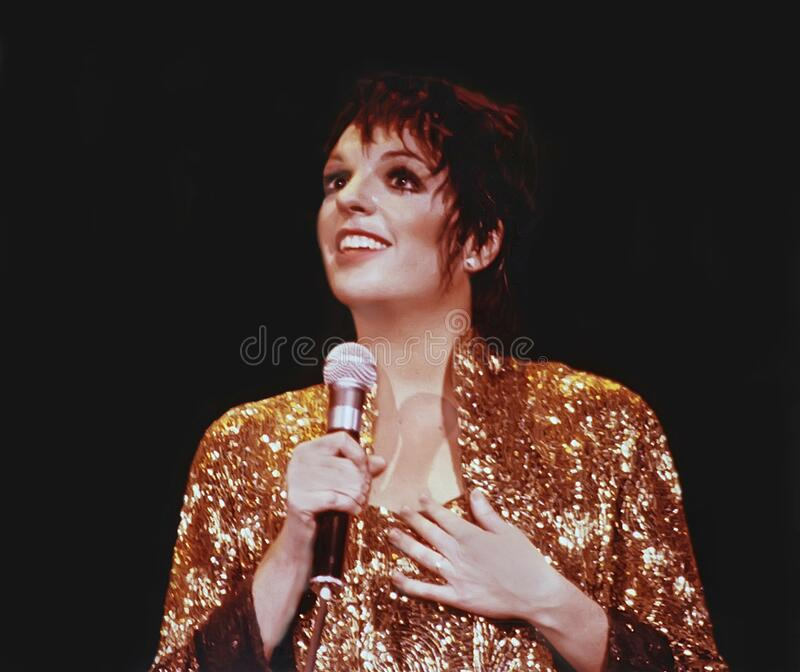 Liza Minnelli Performs at a Chicago Concert. Actress, singer, and dancer Liza Minnelli performs at he Loop Alive concert series at the Chicago Theatre in Chicago stock image