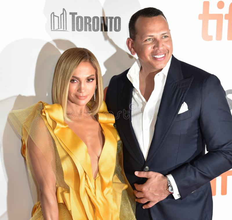 Jennifer Lopez at premiere of Hustlers at the Toronto International Film Festival 2019. Actress and singer Jennifer Lopez in a sultry silk and taffeta was taken royalty free stock photo
