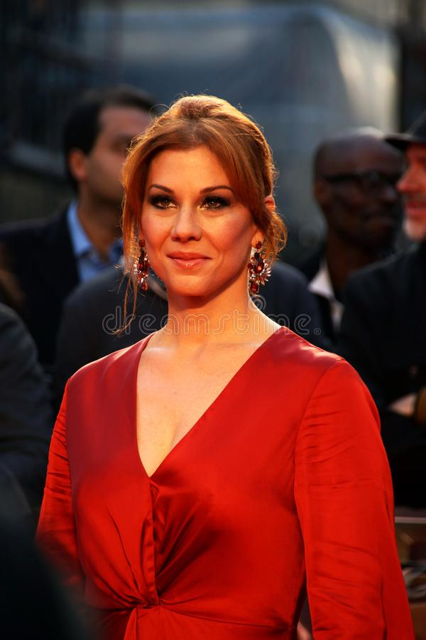 Actress Stephanie Kurtzuba at the premiere of The Irishman. The film and television actress in a stunning orange outfit posing for the cameras on the red carpet stock images