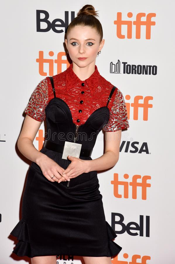 Actress Thomasin McKenzie and producer Carthew Neal at premiere of Jojo Rabbit at TIFF. Thomasin McKenzie at premiere in toronto for Jojo Rabbit movie film royalty free stock photos