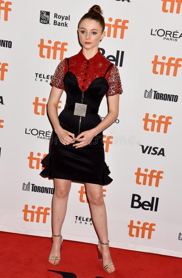 Actress Thomasin McKenzie and producer Carthew Neal at premiere of Jojo Rabbit at TIFF. Thomasin McKenzie at premiere in toronto for Jojo Rabbit movie film stock photo