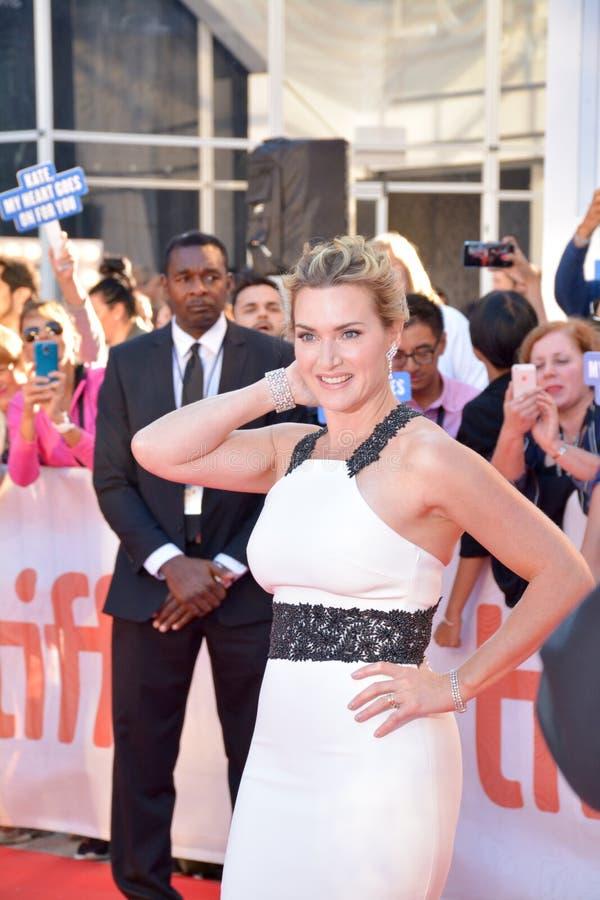 Actrice Kate Winslet bij ` de Berg tussen ons `-Première royalty-vrije stock afbeelding