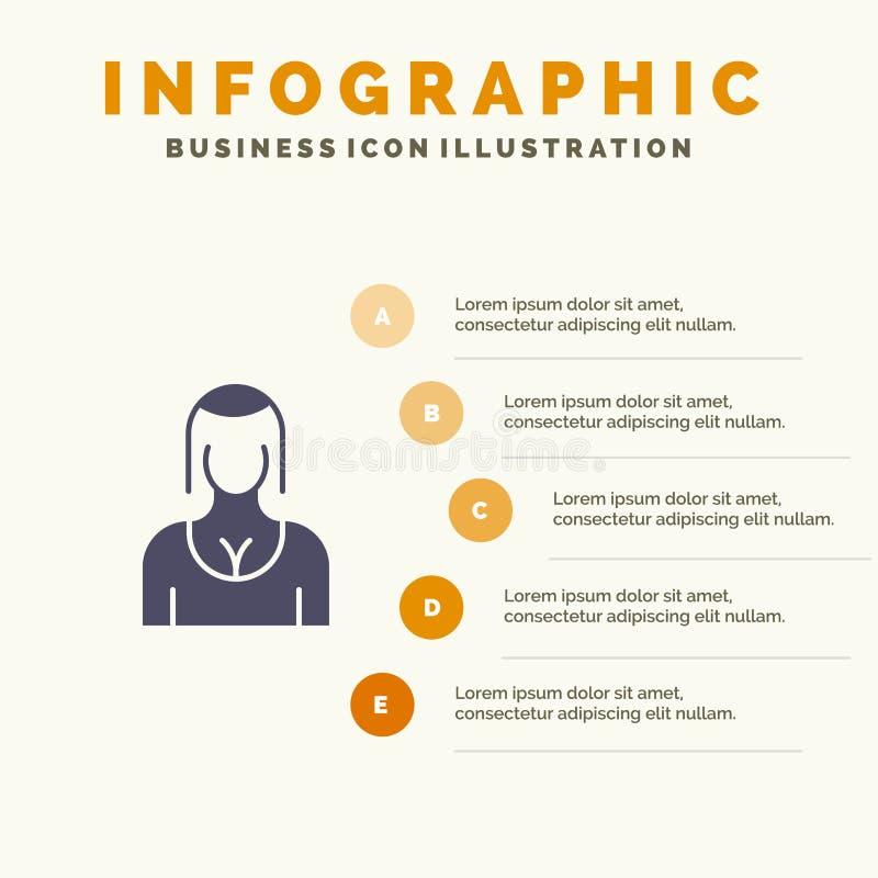 Actriz, Avatar, carácter, muchacha, fondo de la presentación de los pasos de señora Solid Icon Infographics 5 stock de ilustración