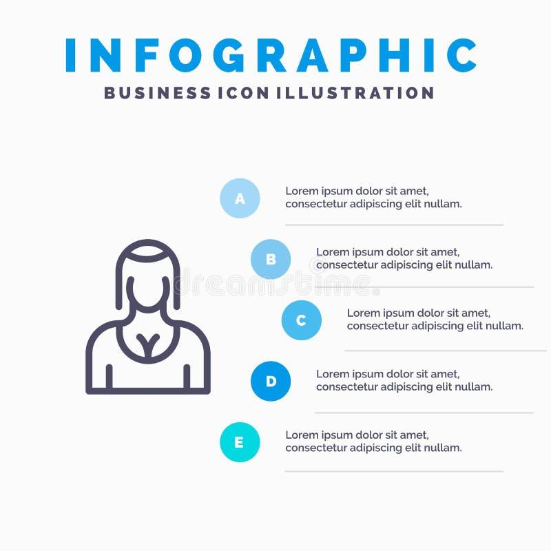 Actriz, Avatar, carácter, muchacha, icono de señora Line con el fondo del infographics de la presentación de 5 pasos libre illustration