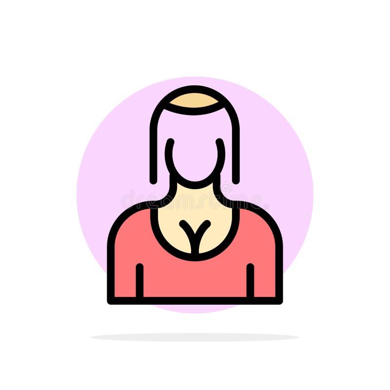 Actriz, Avatar, carácter, muchacha, icono plano del color de señora Abstract Circle Background ilustración del vector