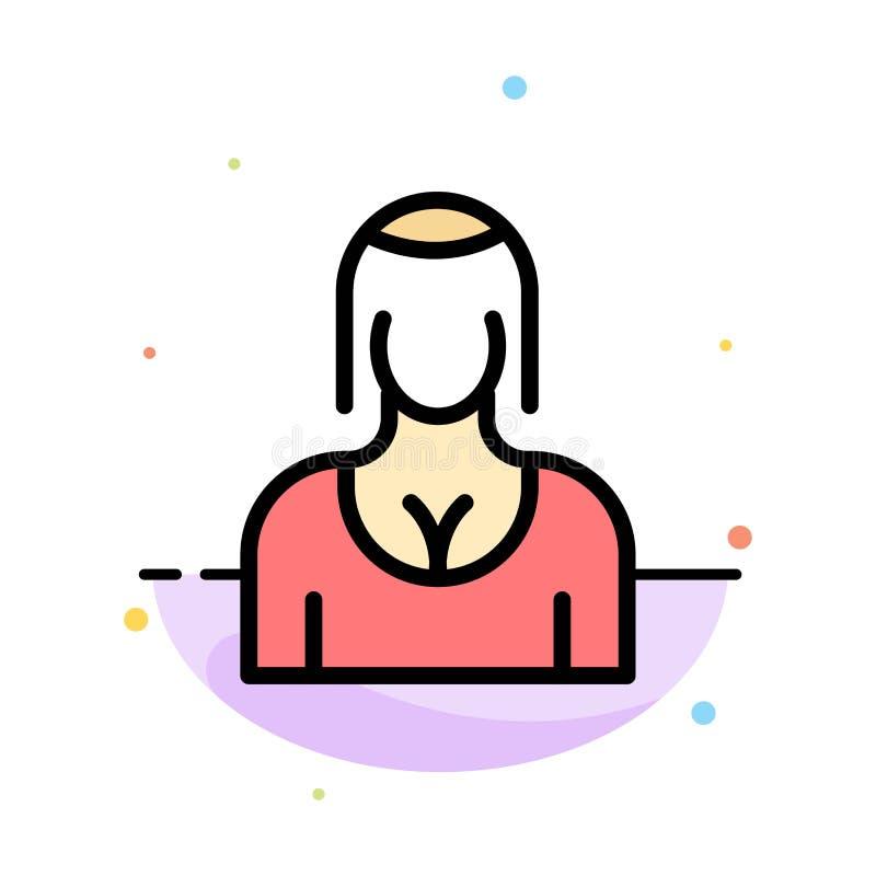 Actriz, Avatar, carácter, muchacha, plantilla del icono de señora Abstract Flat Color libre illustration