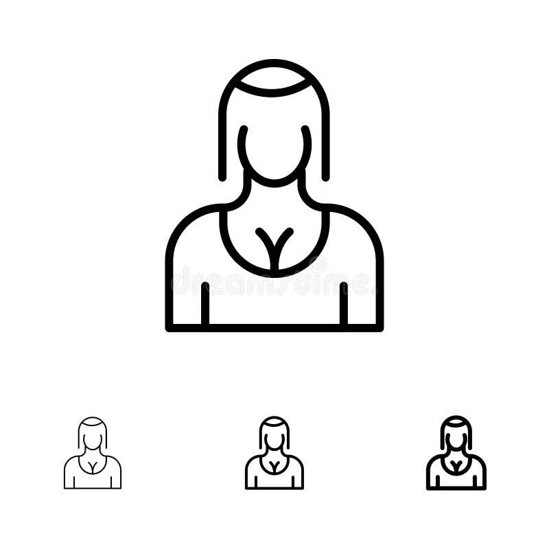 Actriz, Avatar, carácter, muchacha, señora Bold y línea negra fina sistema del icono stock de ilustración