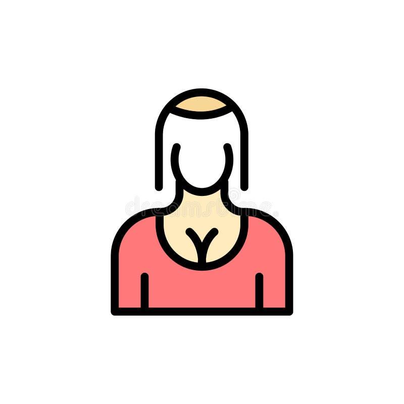 Actriz, Avatar, carácter, muchacha, señora Flat Color Icon Plantilla de la bandera del icono del vector ilustración del vector