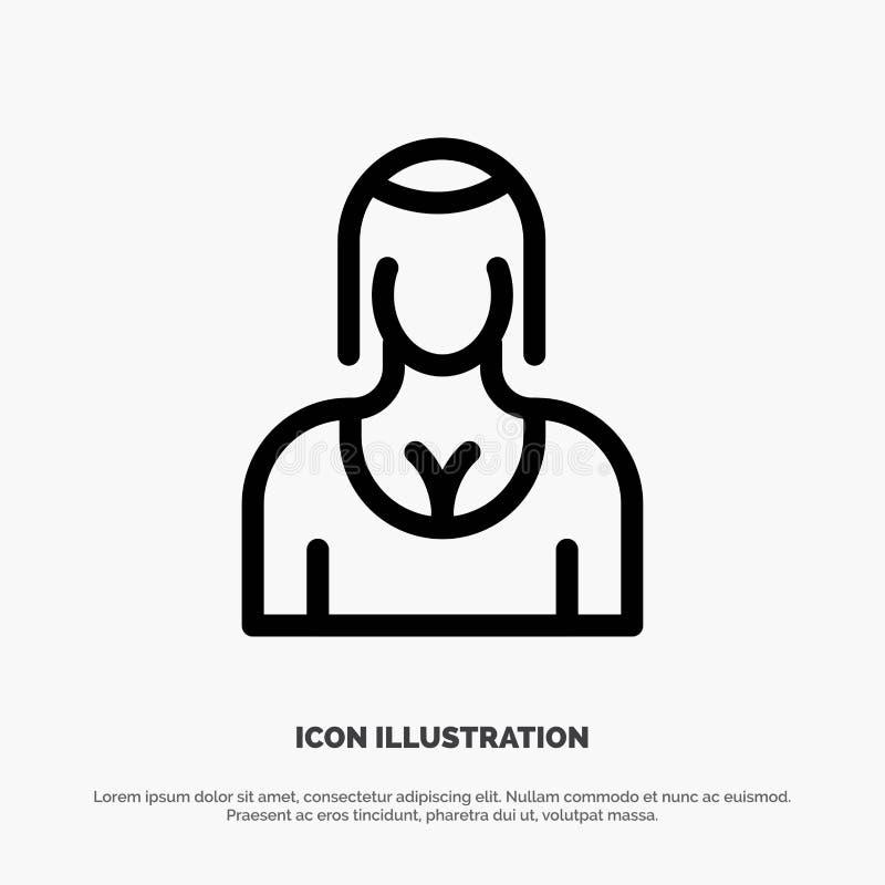 Actriz, Avatar, carácter, muchacha, señora Line Icon Vector stock de ilustración