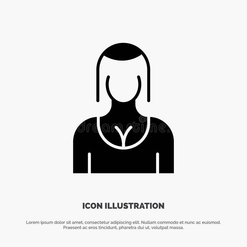 Actriz, Avatar, carácter, muchacha, vector sólido del icono de la señora Glyph stock de ilustración
