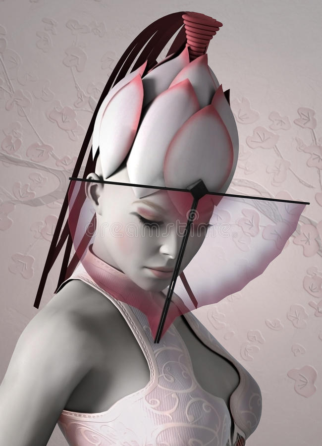 Actriz de Kabuki stock de ilustración