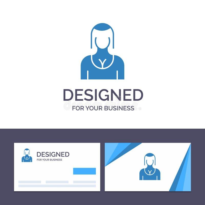 Actriz de visita de la plantilla creativa de la tarjeta y del logotipo, Avatar, carácter, muchacha, señora Vector Illustration libre illustration
