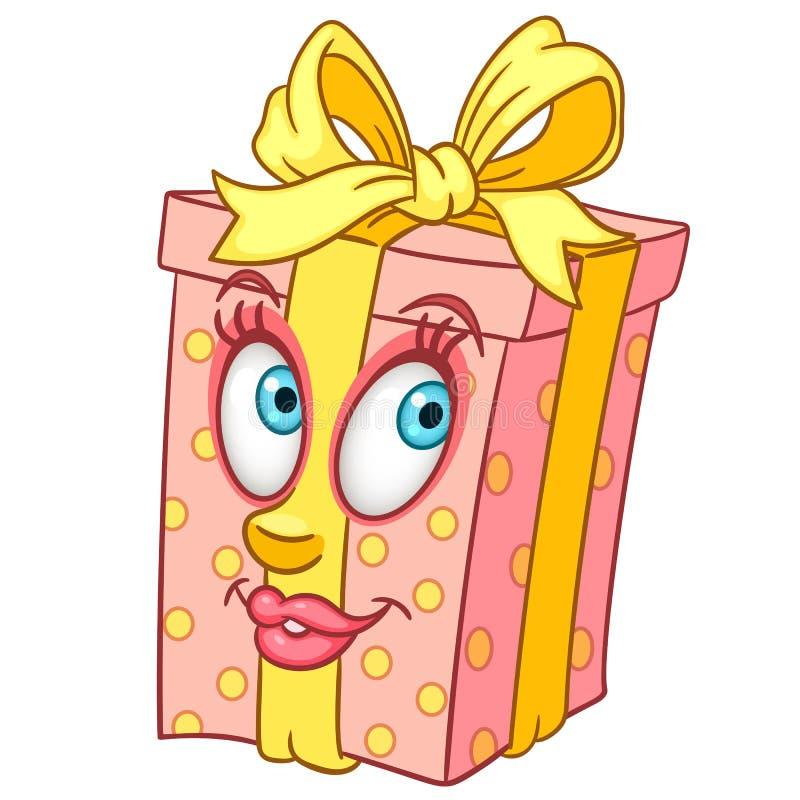 Actual caja de regalo de la historieta stock de ilustración