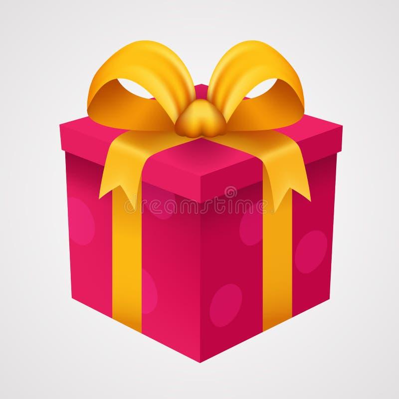 Download Actual Caja Roja Con La Cinta De Oro Ilustración del Vector - Ilustración de fondo, rojo: 100526278