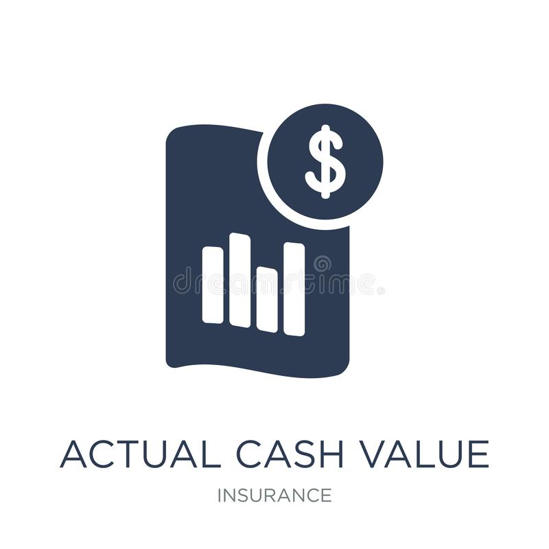 Actual Cash Value icon. Trendy flat vector Actual Cash Value icon on white background from Insurance collection stock illustration